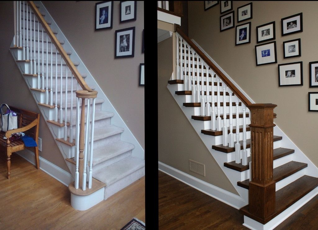 Custom designed Stairs of wood before and after | Jack's Carpet And Tile