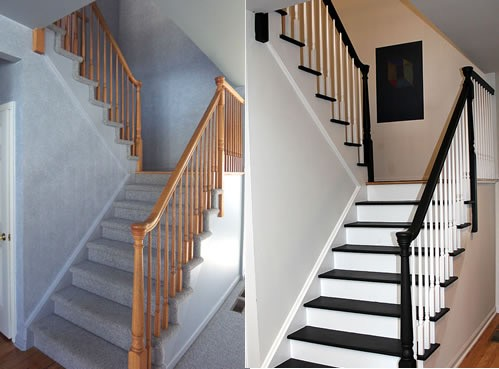 Custom Stairs before and after | Jack's Carpet And Tile